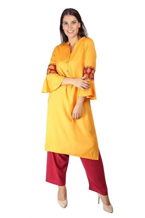 yellow-maroon kurti3