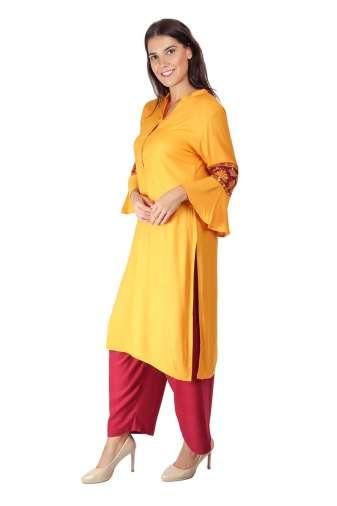yellow-maroon kurti6
