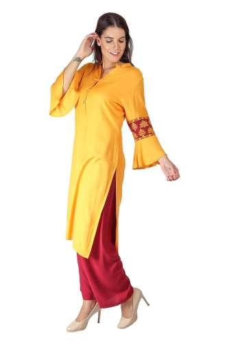 yellow-maroon kurti7