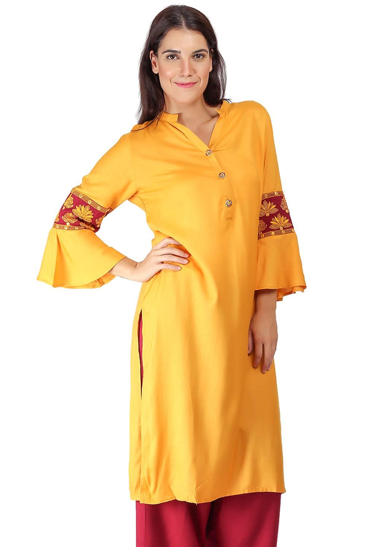 yellow-maroon kurti9