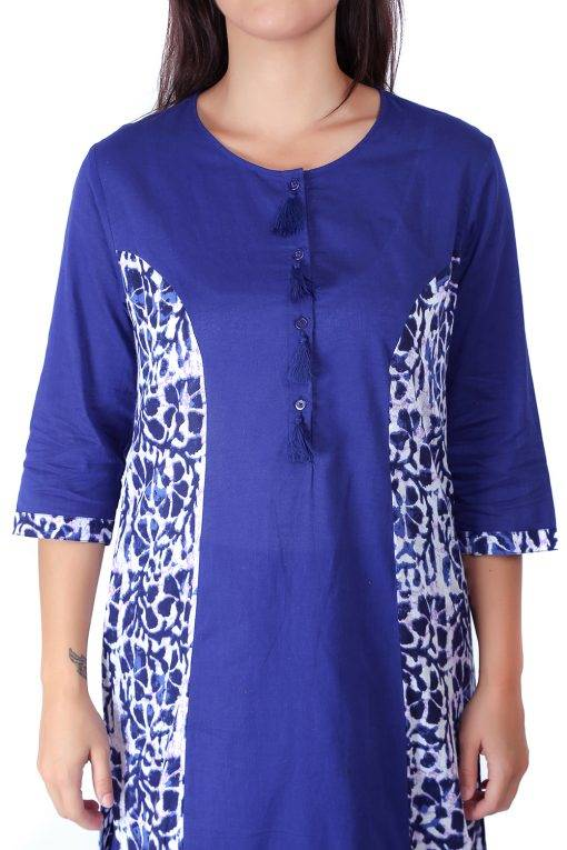 Princes Line Blue White Panel Kurti1