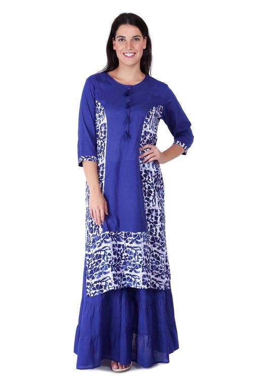 Princes Line Blue White Panel Kurti2