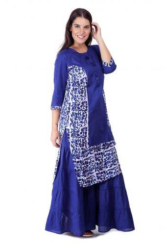 Princes Line Blue White Panel Kurti3