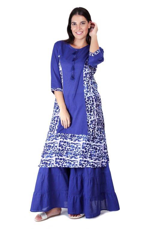 Princes Line Blue White Panel Kurti4