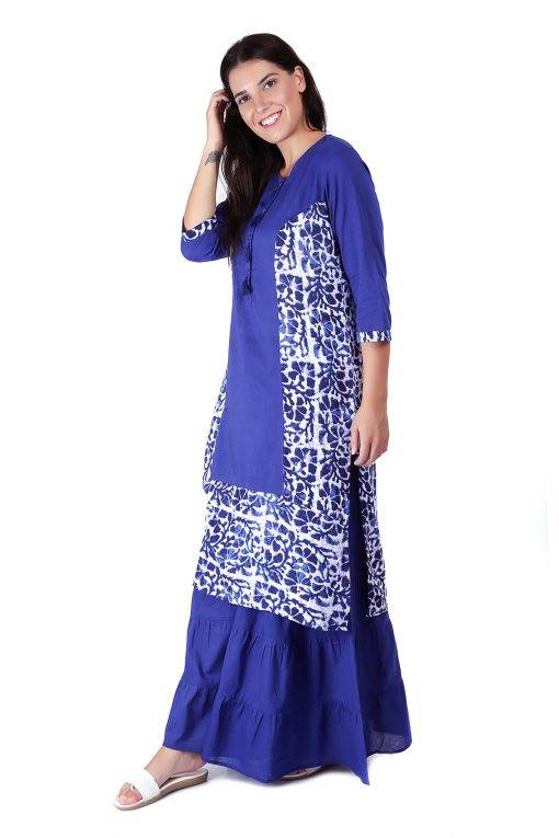 Princes Line Blue White Panel Kurti7