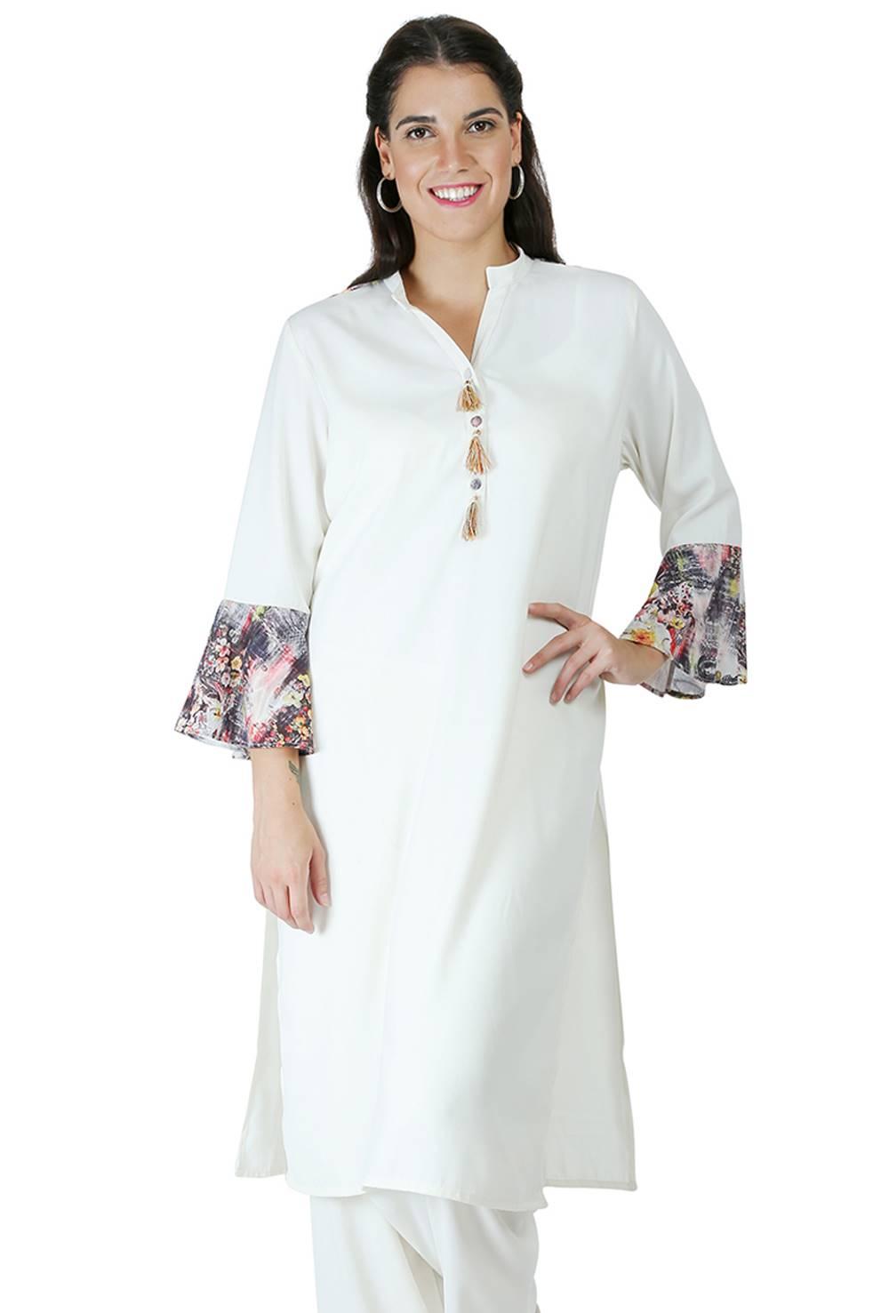 White Bell Sleeve Kurti9