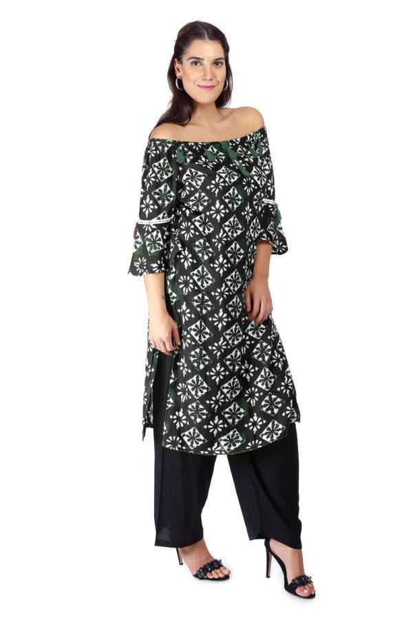 Monochrome Off Shoulder Kurti3