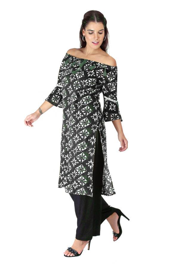 Monochrome Off Shoulder Kurti4