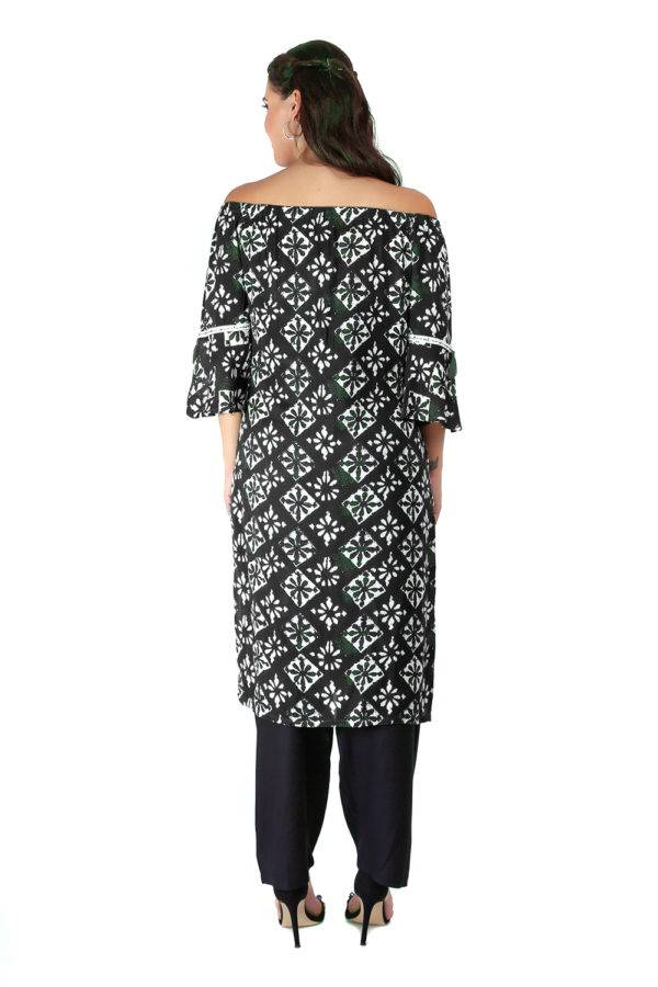 Monochrome Off Shoulder Kurti5