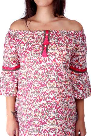 Pink Printed Off Shoulder Kurti1