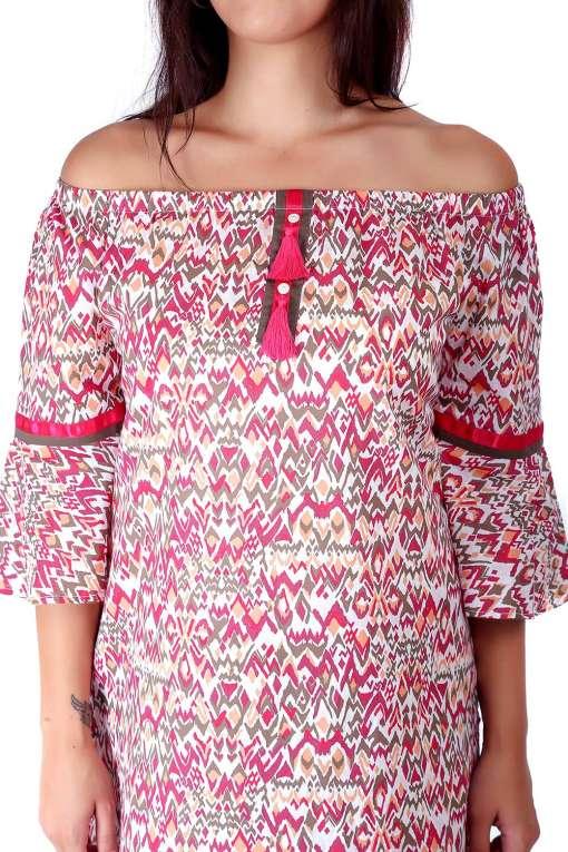 Pink Printed Off Shoulder Kurti1