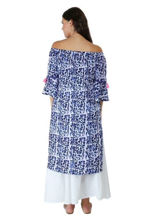 Blue Printed Off Shoulder Kurti-1
