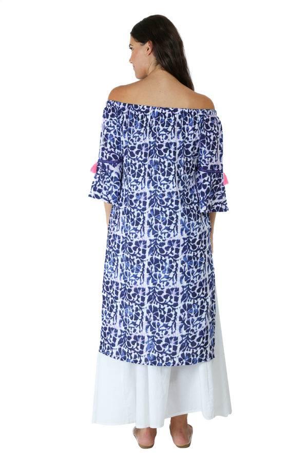 Blue Printed Off Shoulder Kurti-1