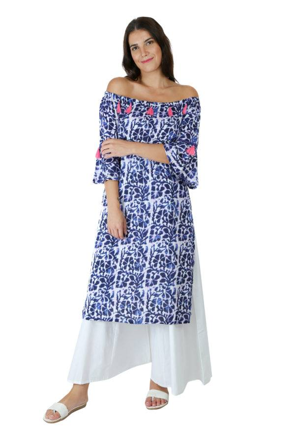 Blue Printed Off Shoulder Kurti2