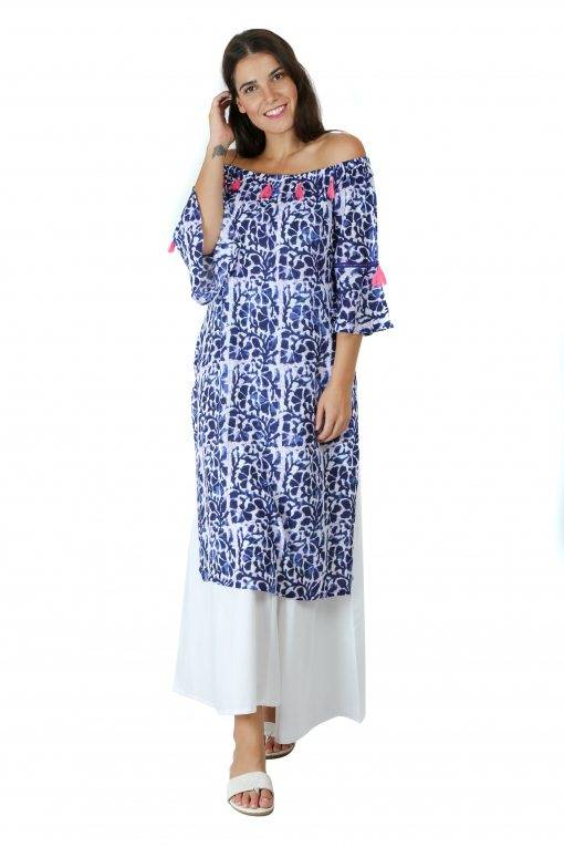 Blue Printed Off Shoulder Kurti3