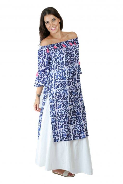 Blue Printed Off Shoulder Kurti4