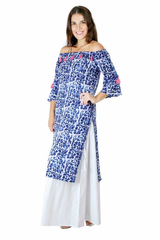 Blue Printed Off Shoulder Kurti5