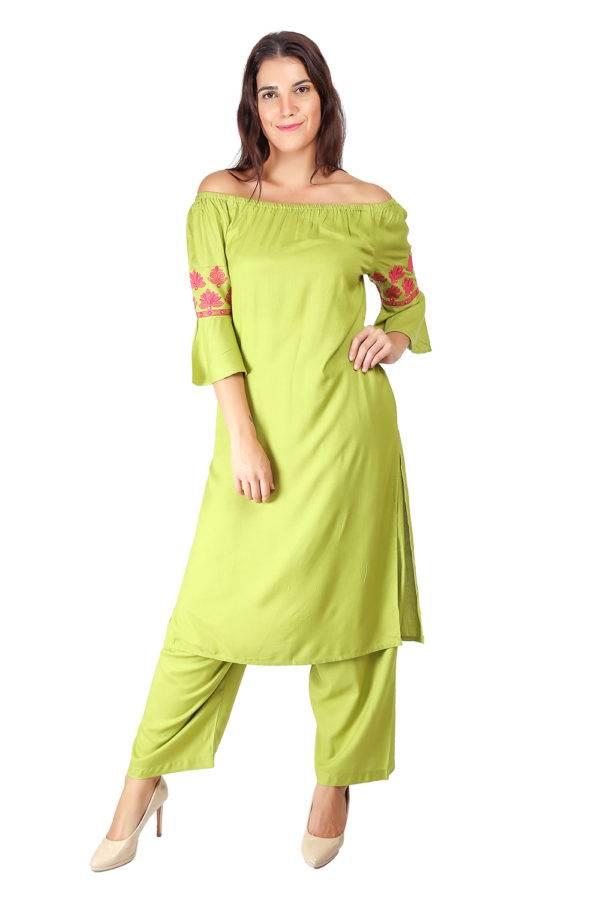 Green Off Shoulder Kurti3