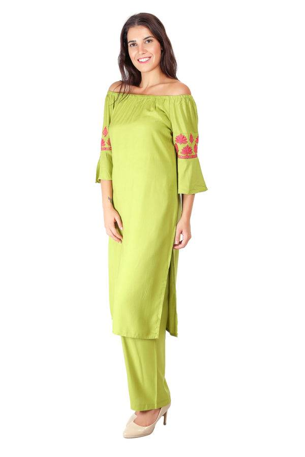 Green Off Shoulder Kurti5