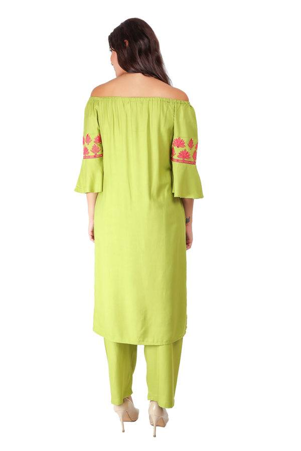Green Off Shoulder Kurti7