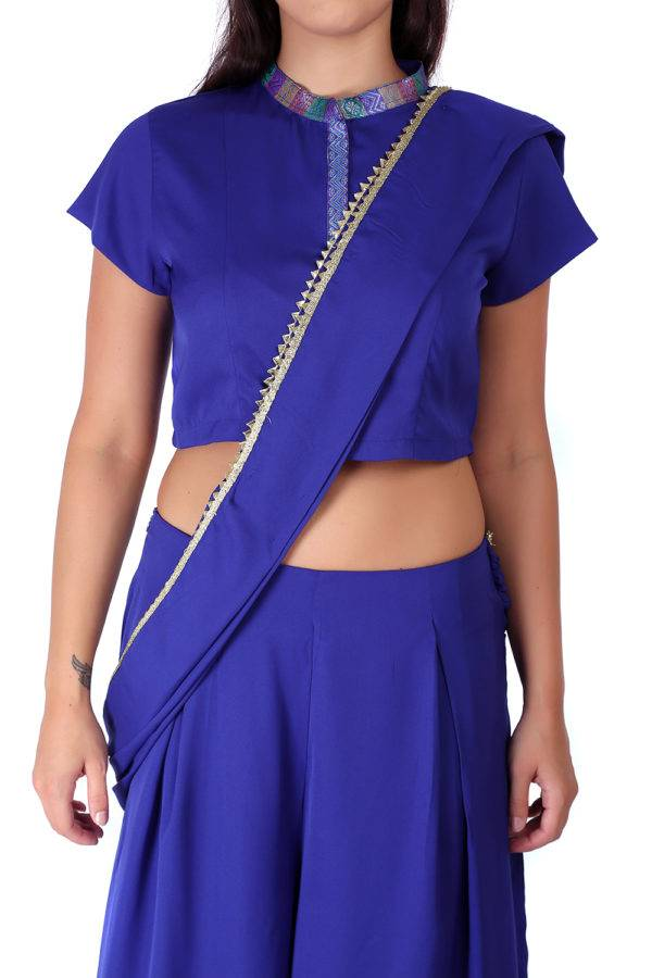 Blue Palazzo Saree With Blouse1