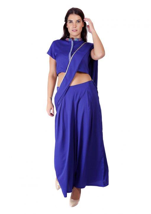Blue Palazzo Saree With Blouse2