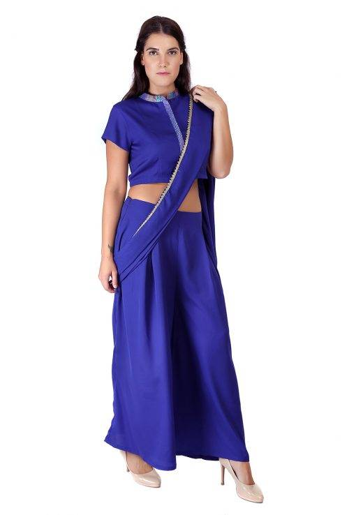 Blue Palazzo Saree With Blouse3