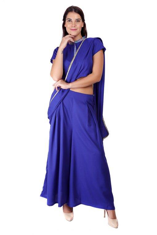 Blue Palazzo Saree With Blouse7