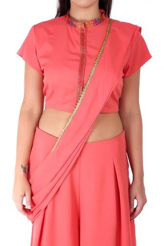 Pink saree + blouse set1