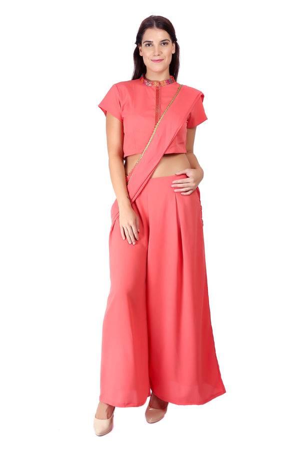 Pink saree + blouse set2