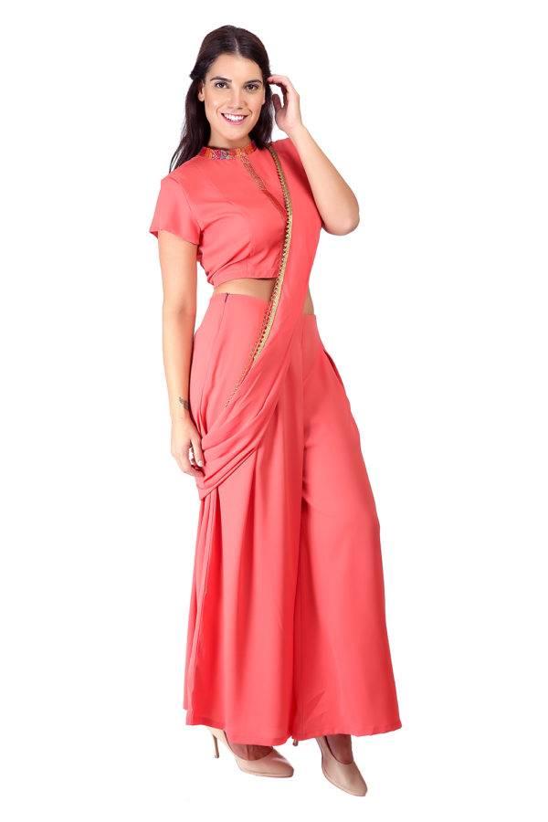 Pink saree + blouse set5