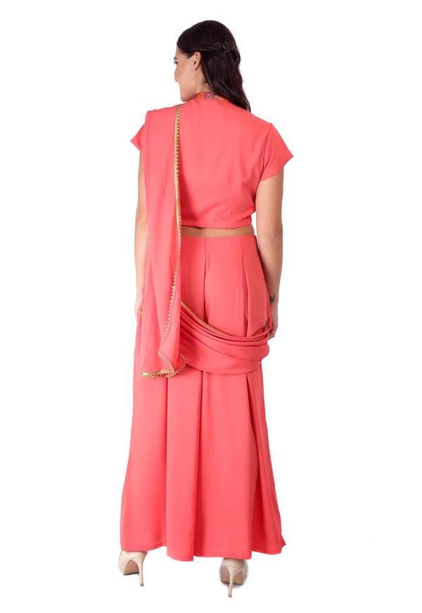 Pink saree + blouse set7