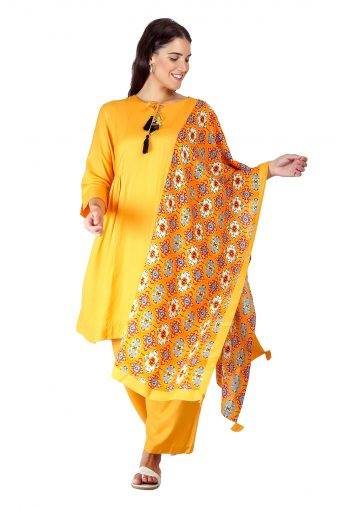 Yellow Printed Dupatta1
