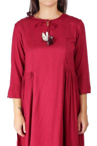 Maroon Pleated Kurti With Bird Patch1