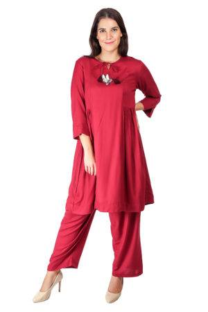 Maroon Pleated Kurti With Bird Patch2