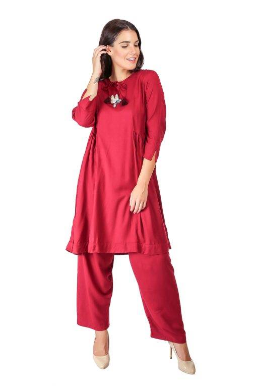 Maroon Pleated Kurti With Bird Patch3