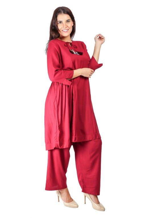 Maroon Pleated Kurti With Bird Patch4