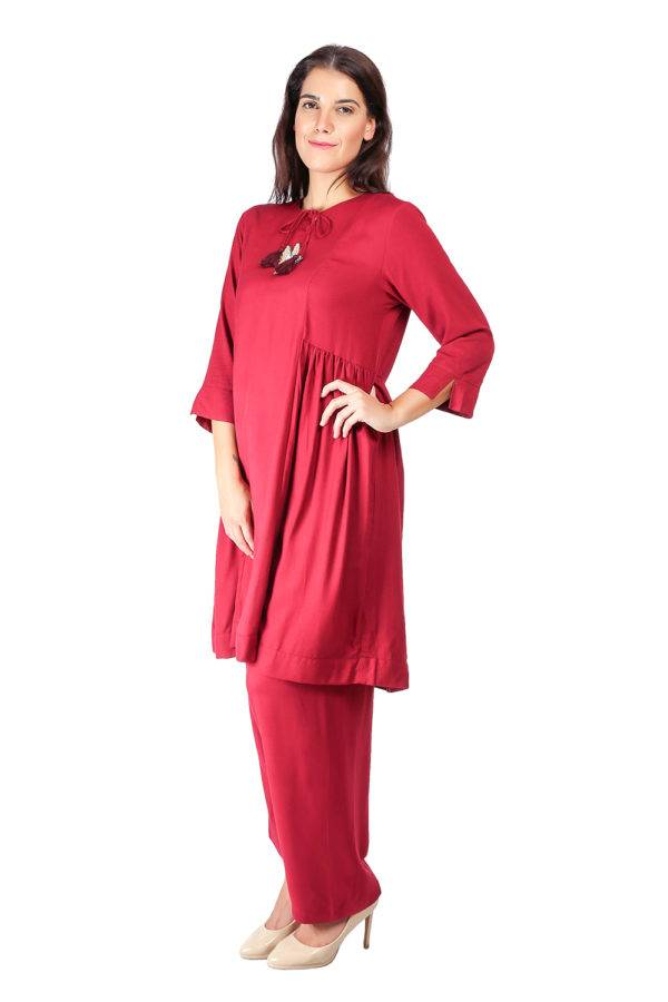 Maroon Pleated Kurti With Bird Patch6