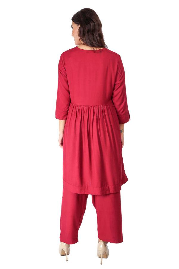 Maroon Pleated Kurti With Bird Patch7