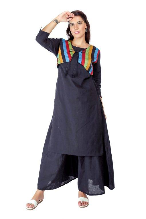 Black Jacket Handloom Kurti6