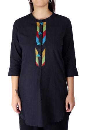 Black Handloom Cotton Short Kurti1