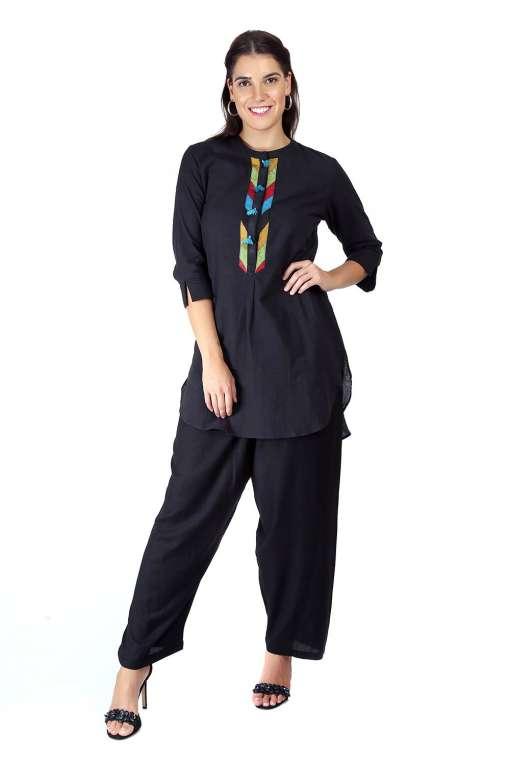 Black Handloom Cotton Short Kurti2