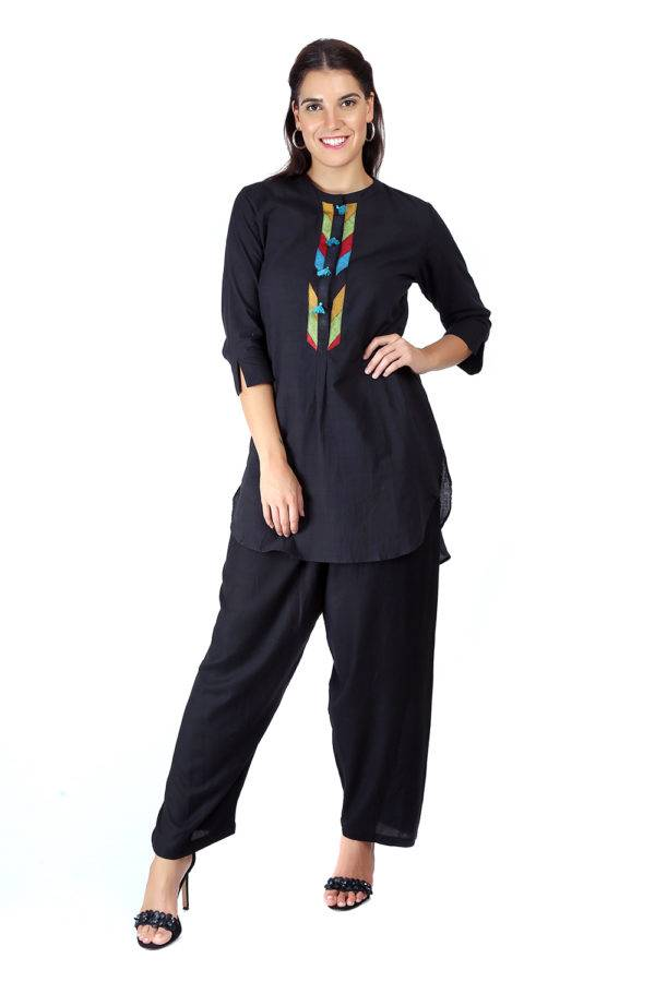 Black Handloom Cotton Short Kurti2