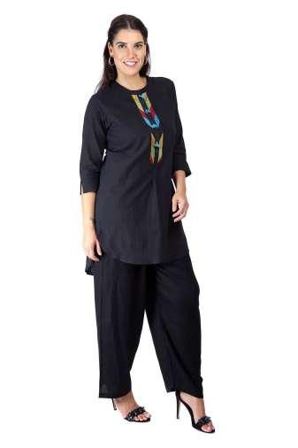 Black Handloom Cotton Short Kurti3