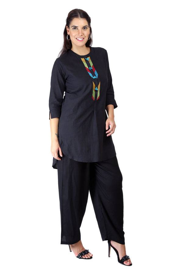 Black Handloom Cotton Short Kurti3