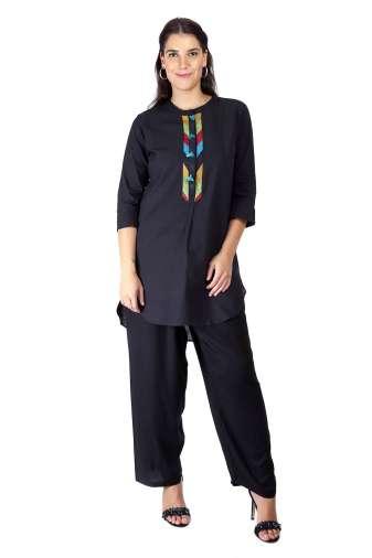 Black Handloom Cotton Short Kurti45