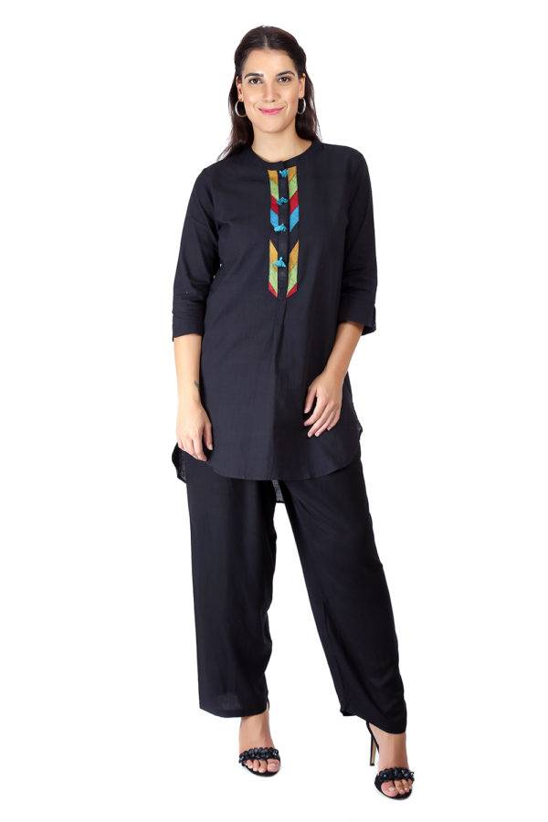 Black Handloom Cotton Short Kurti45