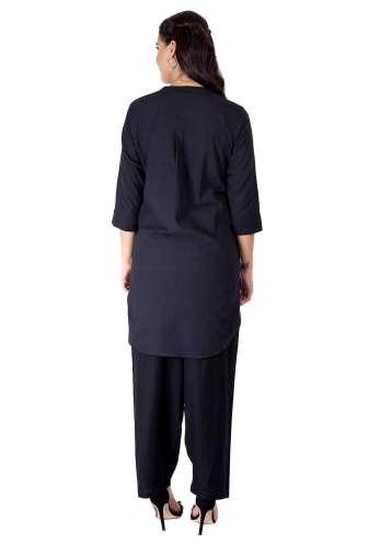 Black Handloom Cotton Short Kurti47