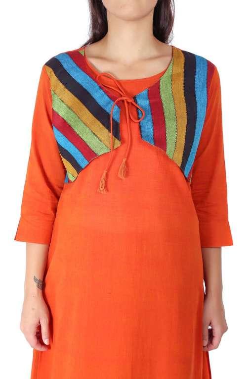 Orange Jacket Handloom Cotton Kurti1