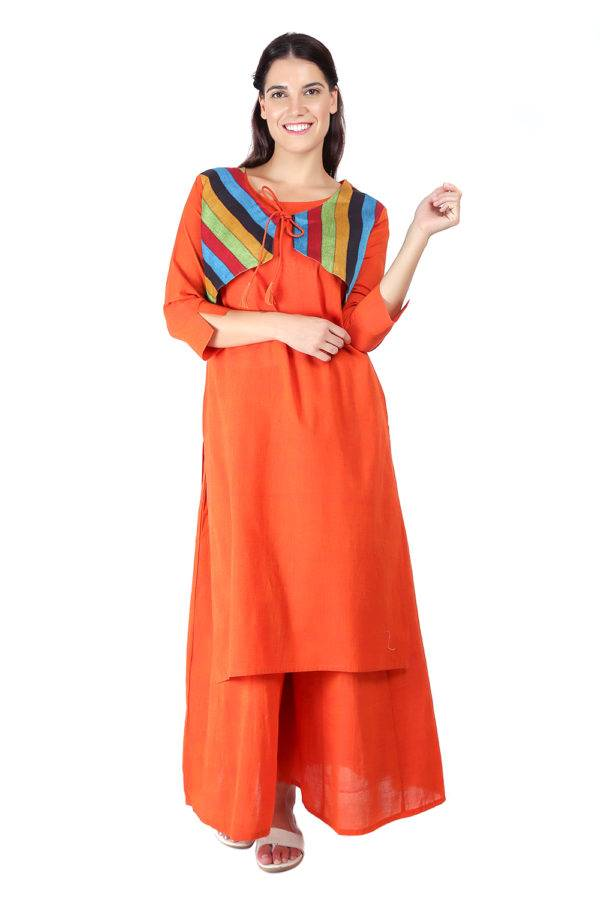 Orange Jacket Handloom Cotton Kurti3